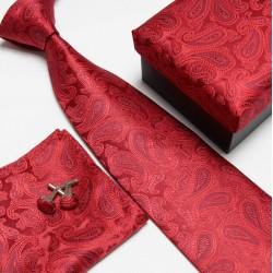 Dárkový set kravata, kapesníček a manžetové knoflíčky