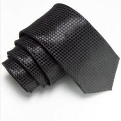 Čierna úzka slim kravata so vzorom šachovnice