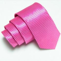 Ružová úzka slim kravata so vzorom šachovnice
