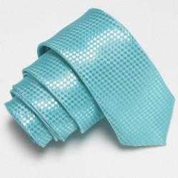 Tyrkysová úzka slim kravata so vzorom šachovnice