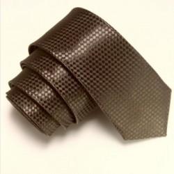 Tmavohnedá úzka slim kravata so vzorom šachovnice