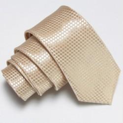 Béžová úzka slim kravata so vzorom šachovnice