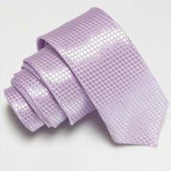 Svetlo fialová úzka slim kravata so vzorom šachovnice