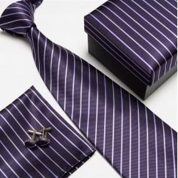 Dárková sada fialová kravata, kapesníček a manžetové knoflíčky