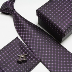 Dárková balení černá kravata, kapesníček a manžetové knoflíčky
