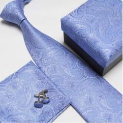 Darčekové sety modrá kravata, vreckovka a manžetové gombíky