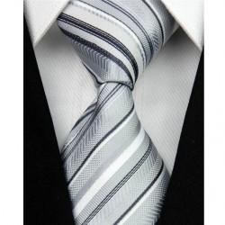 Hodvábna kravata strieborná NT0051