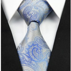 Hodvábna kravata strieborná NT0262