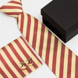 Darčeková sada pruhovaná kravata, vreckovka a manžetové gombíky