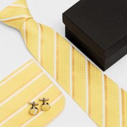 Dárková sada žlutá kravata, kapesníček a manžetové knoflíčky