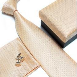 Darčekový set žltá kravata, vreckovka a manžetové gombíky