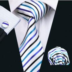 Darčeková sada biela kravata, vreckovka a manžetové gombíky