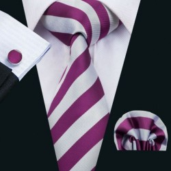 Darčeková sada fialová kravata, vreckovka a manžetové gombíky