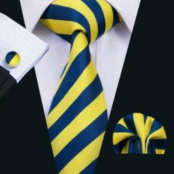Dárkové balení žlutá kravata, kapesníček a manžetové knoflíčky