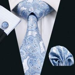 Darčeková sada šedá kravata, vreckovka a manžetové gombíky