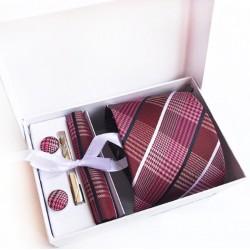 Dárková sada červená kravata, kapesníček, manžetové knoflíčky a kravatová spona