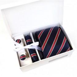 Dárková sada modrá kravata, kapesníček, manžetové knoflíčky a kravatová spona