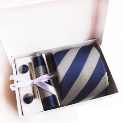 Dárková sada šedá kravata, kapesníček, manžetové knoflíčky a kravatová spona