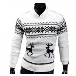 Pletený pánský zimní svetr vánoční bílý