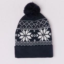Zimní čepice s norským vzorem modrá