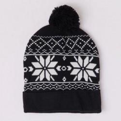 Zimní čepice s norským vzorem černá