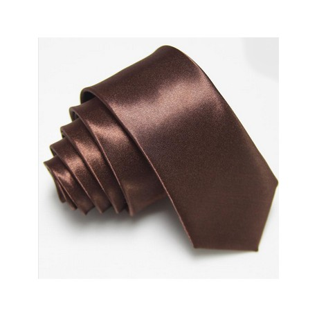 Úzka SLIM kravata hnedá