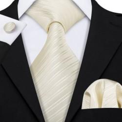 Dárková sada bílá kravata, kapesníček a manžetové knoflíčky