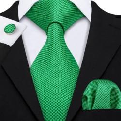 Darčeková sada zelená kravata, vreckovka a manžetové gombíky